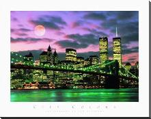 New York City art print poster with block mounting