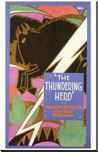 Thundering Herd, the art print poster with block mounting