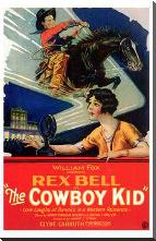 Cowboy Kid, the art print poster with block mounting