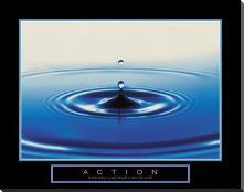 Action - Drop Of Water art print poster with block mounting
