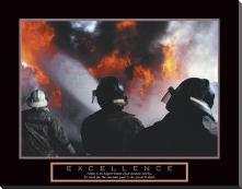 Excellence - Three Firemen art print poster with block mounting