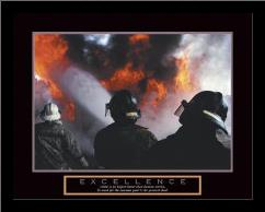 Excellence - Three Firemen art print poster with simple frame