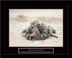 Bravery - Sniper art print poster with simple frame