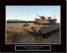 Authority - Tank art print poster with block mounting