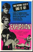 Explosion art print poster with block mounting