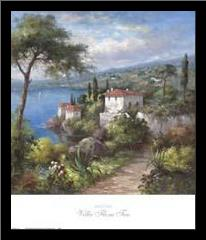 Villa Flora II art print poster with simple frame