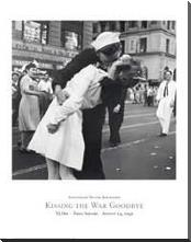 Kissing the War Goodbye, Vj Day, Times S art print poster with block mounting