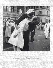 Kissing the War Goodbye, Vj Day, Times S art print poster transferred to canvas