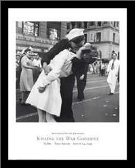 Kissing the War Goodbye, Vj Day, Times S art print poster with simple frame