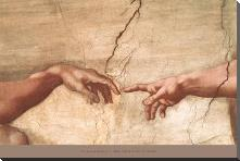Creation of Adam (Detail) art print poster with block mounting