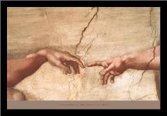Creation of Adam (Detail) art print poster with simple frame