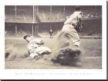 Joe Dimaggio Sliding Into Third art print poster with block mounting