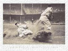 Joe Dimaggio Sliding Into Third art print poster transferred to canvas