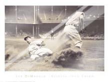 Joe Dimaggio Sliding Into Third art print poster with laminate