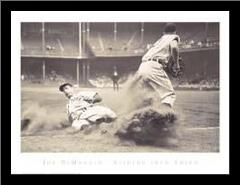Joe Dimaggio Sliding Into Third art print poster with simple frame