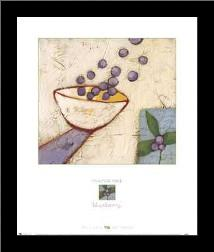 Blueberry art print poster with simple frame