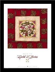 Gold Doves II art print poster with simple frame
