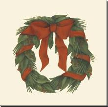 Small Holiday Wreath (H) art print poster with block mounting