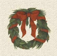 Small Holiday Wreath (H) art print poster transferred to canvas