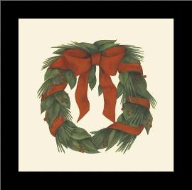Small Holiday Wreath (H) art print poster with simple frame