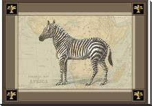 Zebra with Border I art print poster with block mounting