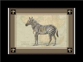 Zebra with Border I art print poster with simple frame