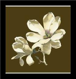 Magnolia on Taupe I art print poster with simple frame