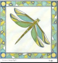 Luminous Dragonfly I art print poster with block mounting