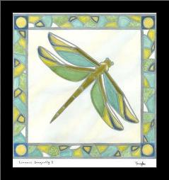 Luminous Dragonfly I art print poster with simple frame