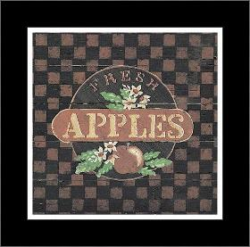 Fresh Apples art print poster with simple frame