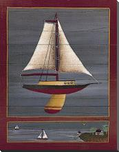 Pond Yacht I art print poster with block mounting