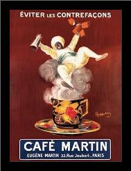 Cafe Martin art print poster with simple frame