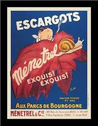 Escargots art print poster with simple frame