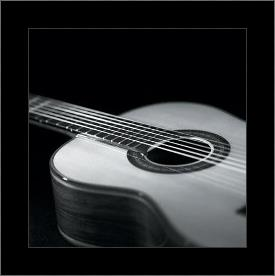 Guitar art print poster with simple frame