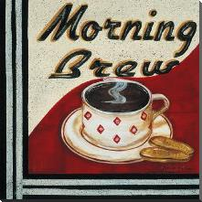 Morning Brew art print poster with block mounting