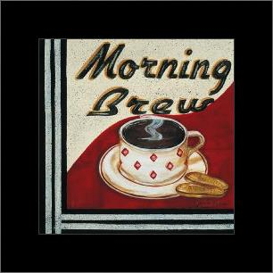 Morning Brew art print poster with simple frame
