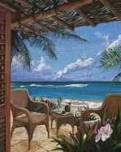Paradise Porch art print poster transferred to canvas