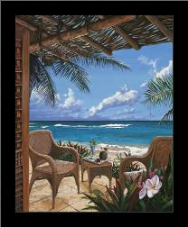 Paradise Porch art print poster with simple frame