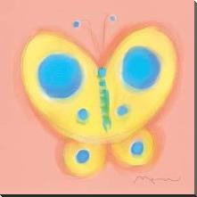 Butterfly On Pink art print poster with block mounting