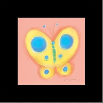 Butterfly On Pink art print poster with simple frame