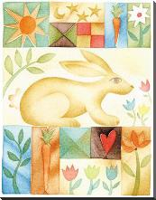 Rabbit Quilt art print poster with block mounting