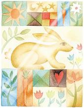 Rabbit Quilt art print poster with laminate