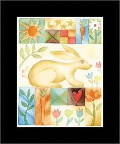 Rabbit Quilt art print poster with simple frame