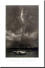 Sheep Under Cloud art print poster with block mounting