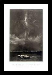 Sheep Under Cloud art print poster with simple frame