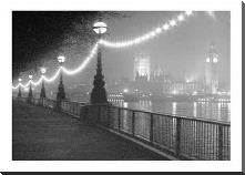 River Thames By Night art print poster with block mounting