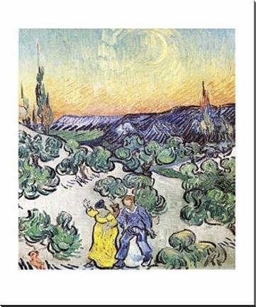 Promenade le Soir a Saint-Remy art print poster with block mounting