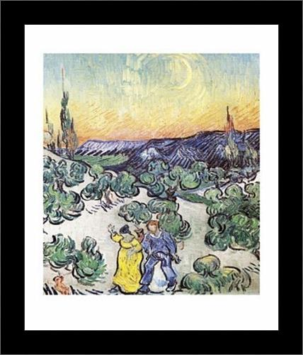 Promenade le Soir a Saint-Remy art print poster with simple frame