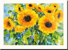 Sunflowers art print poster with block mounting