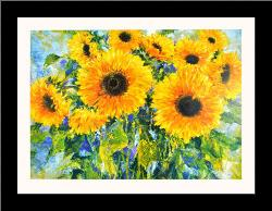 Sunflowers art print poster with simple frame